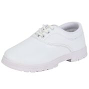 Navigon White Solid Lace Closure School Shoes for Boys