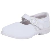 Navigon White Solid Buckle Strap Closure School Shoes for Girls