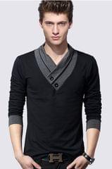 Black & Grey Slim Fit Draped Neck T-Shirt
