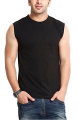 Black Sleeveless Round Neck Slim Fit T-Shirt