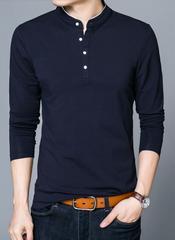 Styish Navy Blue Mandarin Collar Full Sleeve Slim Fit T-Shirt