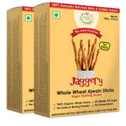 Organic Whole Wheat Ajwain Jaggery Teething Sticks - 150 gms (Pack of 2)