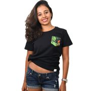 Black Coffee Printed Pocket Women's T-shirt