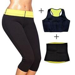 Hot Shapers Sport Slimming Body Suit (Vest+Belt+Pants) For Sweating Burn Fat For Women (XXL)