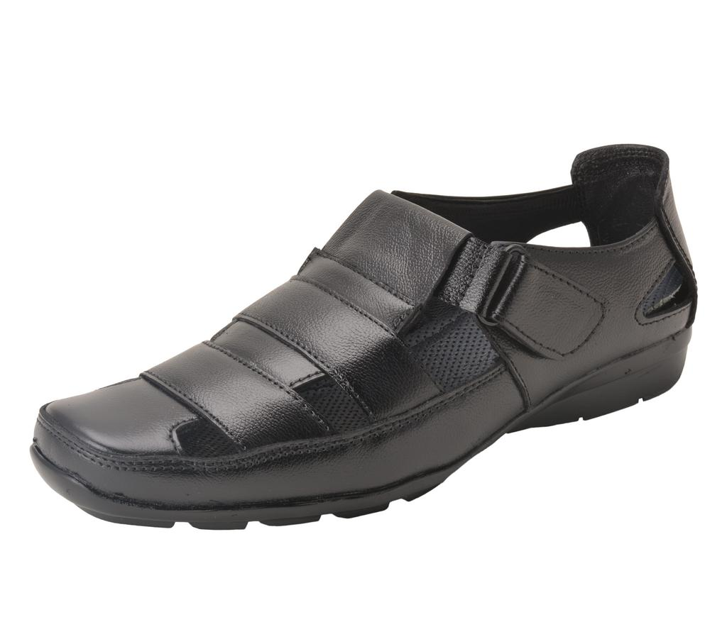 Gillie Men's Leather Sandals (BLACK)