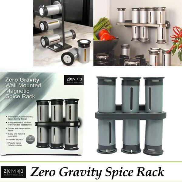 Zero Gravity Magnetic Spice Rack with 6 Spice Canisters, Silver