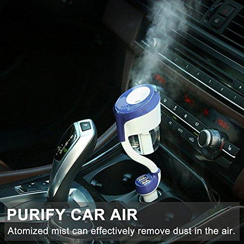 Car Humidifier with Dual USB Charger, 4 in 1 Essential Oil Aroma Diffuser, Car charger, Portable Ultrasonic Mini Cool Mist Aroma Humidifier, Air Purify with Auto Off
