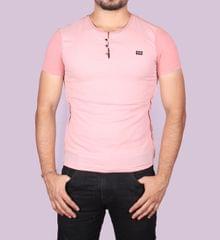 Peach Color Half T-Shirt For Men