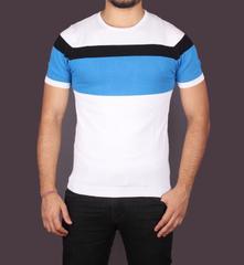 Multicolor Woolen Stripped Half T-Shirt for Men
