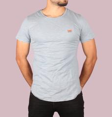 Stylish Grey Half T-Shirt for Men with Side Zipper