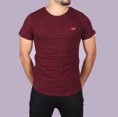 Stylish Red Half T-Shirt for Men with Side Zipper