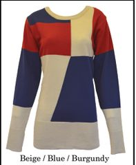 Block Intarsia Round Neck Sweater (LL-16-10A)