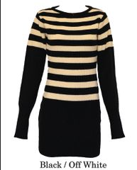 Ribbed Tuck Knit Stripe Round Neck Sweater (LL-16-03)