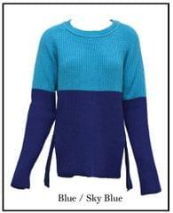 Half & Half Splot Loose Ribbed Sweater (LL-16-01)