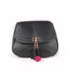 Ladies Black Side Bag With Magnetic Lock