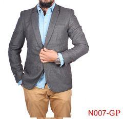 Grey Casual Blazer For Men