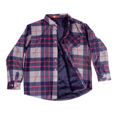 Red-Navy Checkered Woolen Shirt for Men With Fur