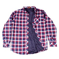 Maroon Checkered Woolen Shirt for Men With Fur