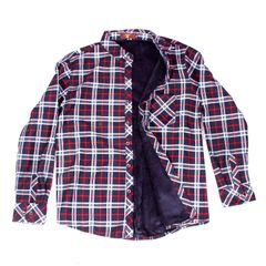 Red-White Checkered Woolen Shirt for Men With Fur