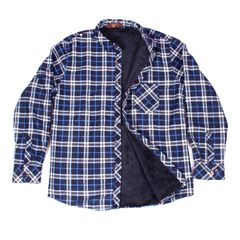 White-Blue Checkered Woolen Shirt for Men With Fur