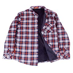 Red-Blue Checkered Woolen Shirt for Men With Fur
