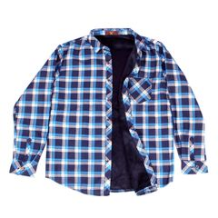 Sky Blue Checkered Woolen Shirt for Men With Fur