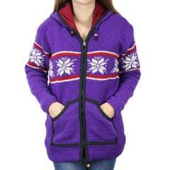 Wool On Purple Floral Knitted Sweater For Women