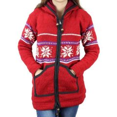 Wool On Red White Knitted Floral Design Sweater For Women