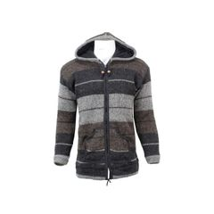 Wool On Multicolor Textured Striped Sweater For Men