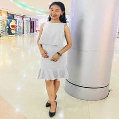 Melange White Two Piece Crop Tshirt with Ruffle Skirt For Women