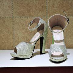 Golden Shimmery Ankle Strap High Heels For Women