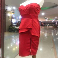 Melange Red Tube Side Slit Dress