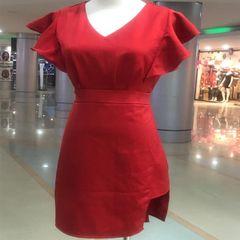 Melange Red Side Cut Dress For Women