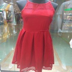 Melange Red Net String Dress For Women