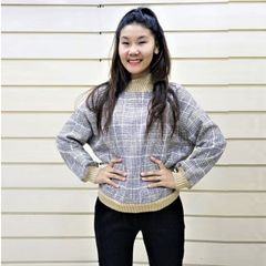 Melange Check Woolen Neck Tshirt
