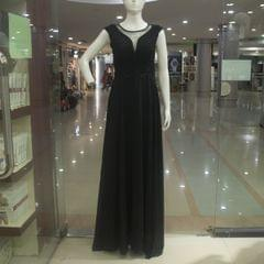 Melange Black Long Gown For Ladies
