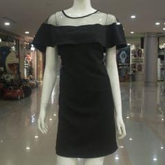 Melange Black Off-shoulder Net Dress For Ladies