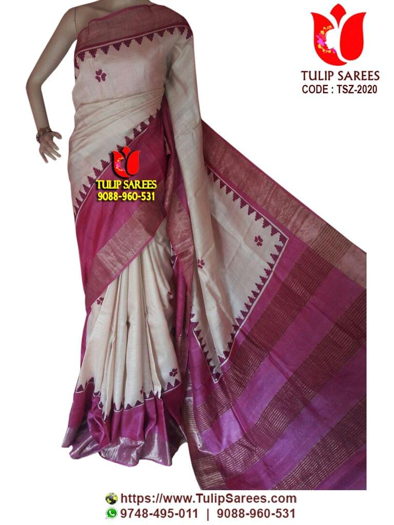 Tussar Silk | with Zari Border