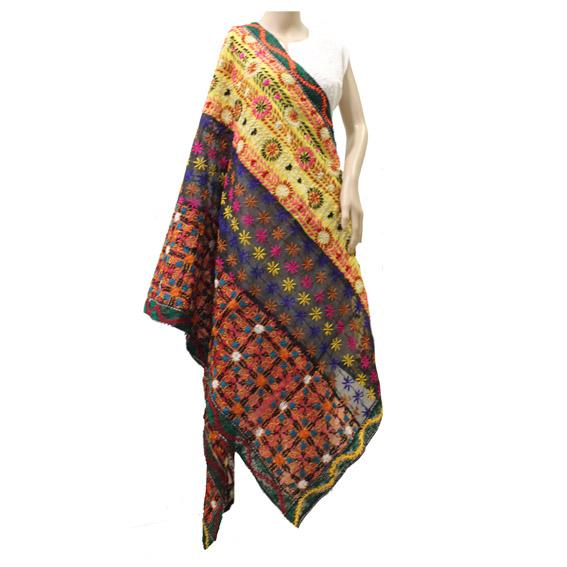 Applique Multicolor Chanderi Dupatta
