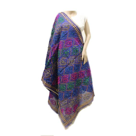 Blue Multicolor Chanderi Dupatta
