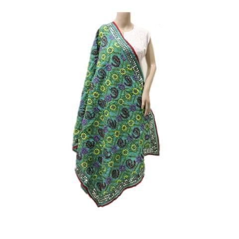 Seagreen Multicolored Chanderi Dupatta
