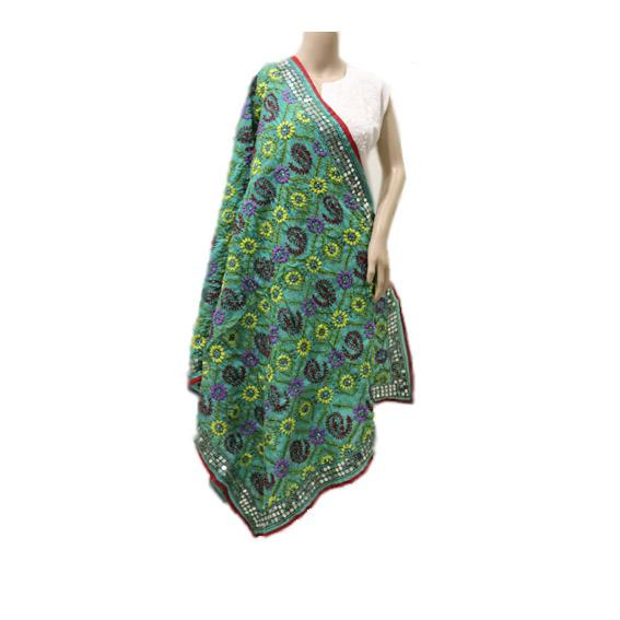 Seagreen Multicolored Chanderi Dupatta