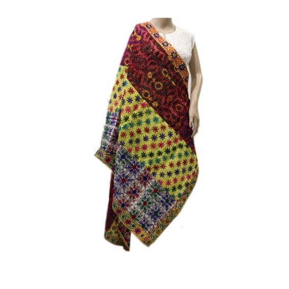 Applique Multicolor Chanderi Dupatta (2)