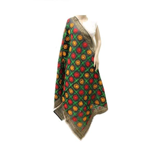 Black Multicolor Chanderi Dupatta