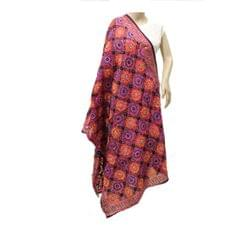 Magenta Multicolor Chanderi Dupatta