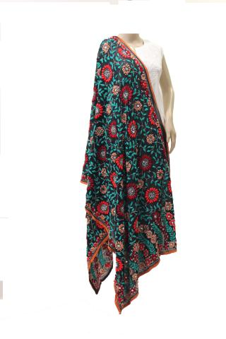 Black Multicolored Georgette Dupatta