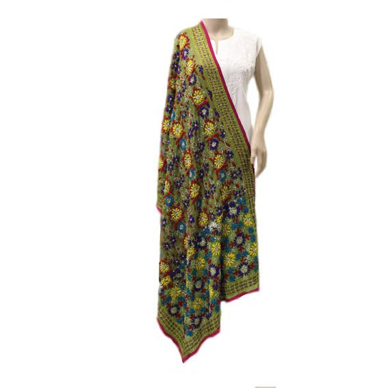 Olive Green Multicolored Georgette Dupatta