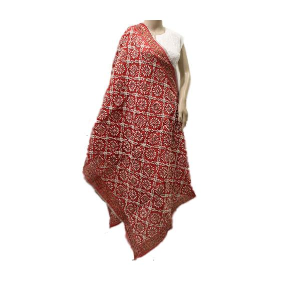 Red & White Chanderi Dupatta