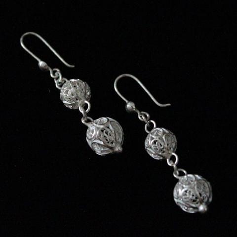 Duo Circle Silver Filigree Earrings