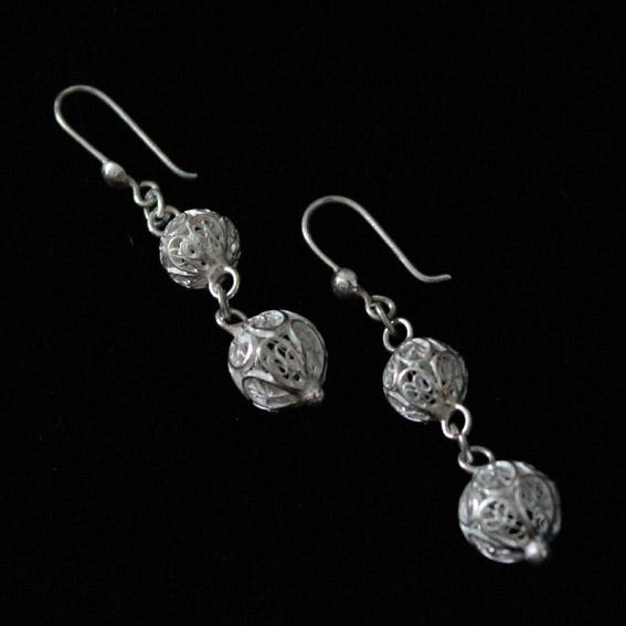 Duo Circle Silver Filigree Earrings